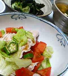 冷やしゃぶサラダ&ワカメときゅうりの酢の物