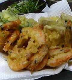 椎茸と海老の天ぷら